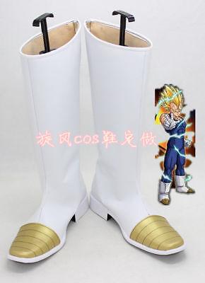 Hot! Dragon Ball Z Vegeta Halloween White Long Cosplay Shoes Boots Y.52](Dragon Ball Z Vegeta Halloween Costume)