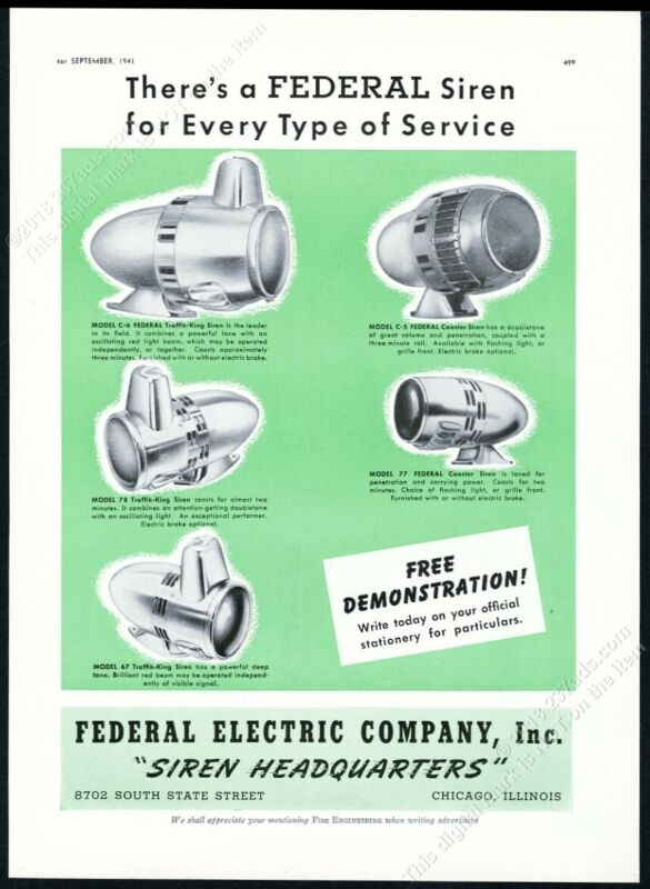 1941 Federal Electric fire engine siren 5 models photo vintage print ad