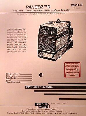Lincoln Ranger 9 Welder Onan P218 Engine Operator Service 2 Manuals 102pg