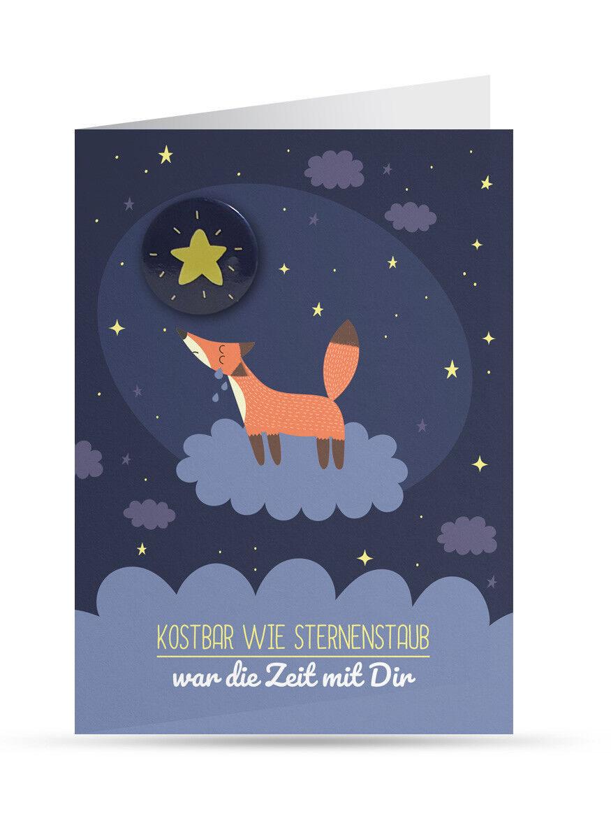 Trauerkarte Kind/ Baby (Sternenkind): Fuchs (mit Button und Umschlag) NEU