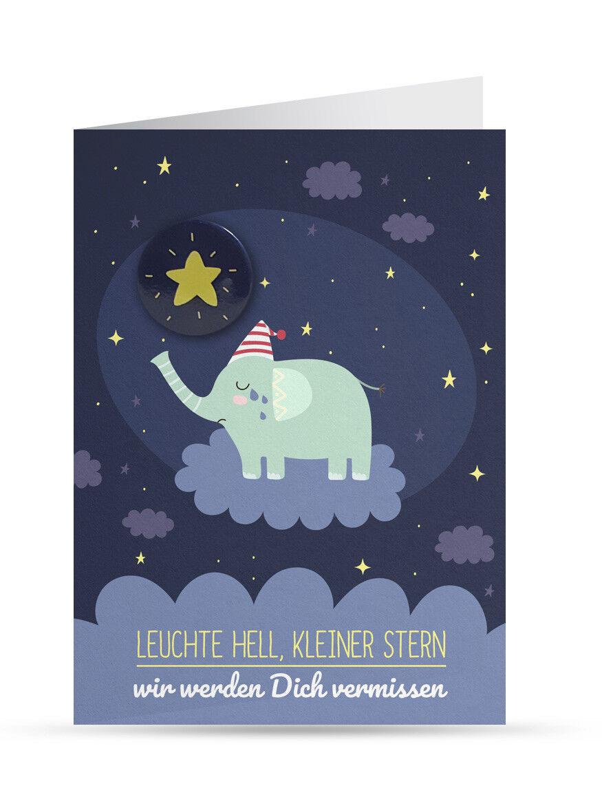 Trauerkarte Kind/ Baby (Sternenkind): Elefant (mit Button und Umschlag) NEU