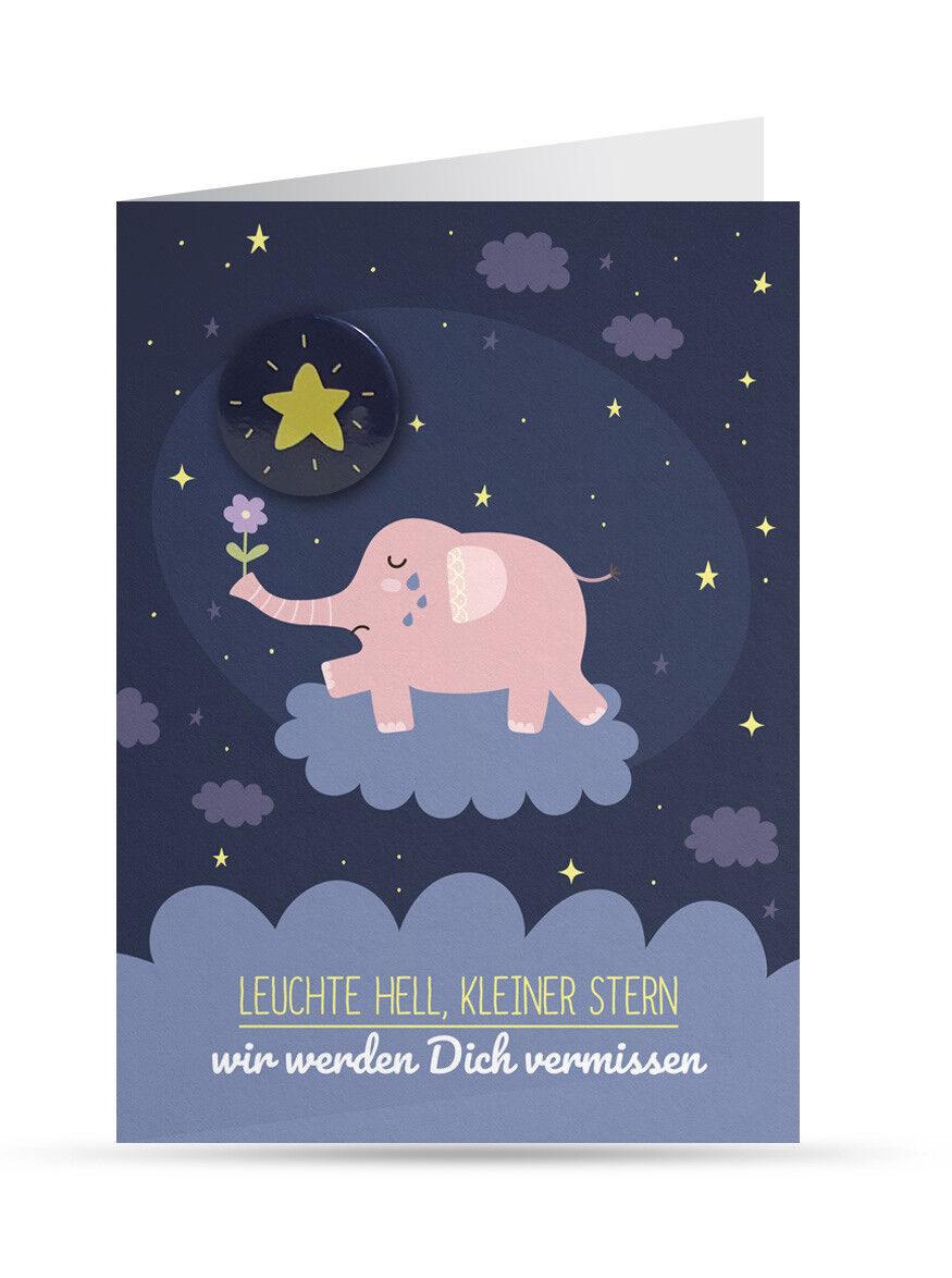 Trauerkarte Kind/ Baby (Sternenkind): rosa Elefant (mit Button und Umschlag) NEU