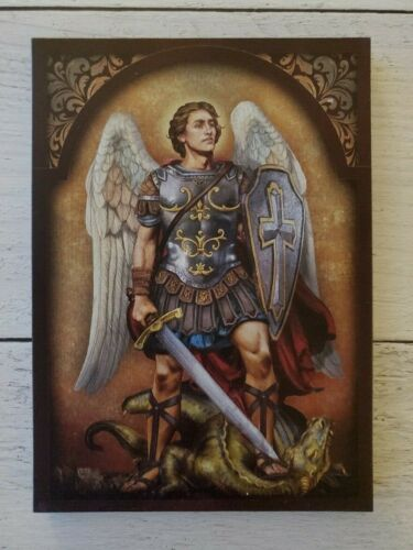 """5 X 7"""" Wood Plaque Saint Michael the Archangel"""