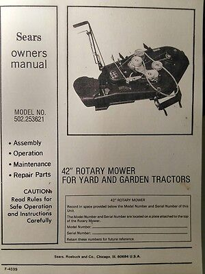 "Sears-Murray Lawn Garden Tractor 42"" 502.253621 Mower Owner & Parts Manual 20pg"