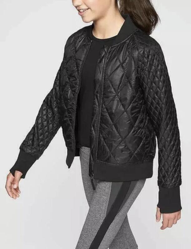 Athleta Girl Brainstorm Bomber Jacket, Size L/12 Black Lightweight ZIP Up