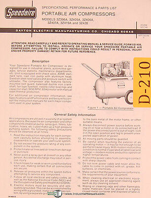 Dayton 3z Series Portable Air Compressors Specs And Parts List Manual