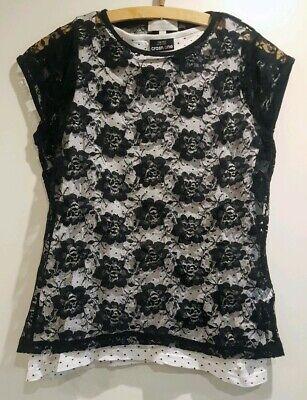 Schickes Spitzen T-Shirt schwarz + Top gratis Gr.158 Mädchen , Vögele