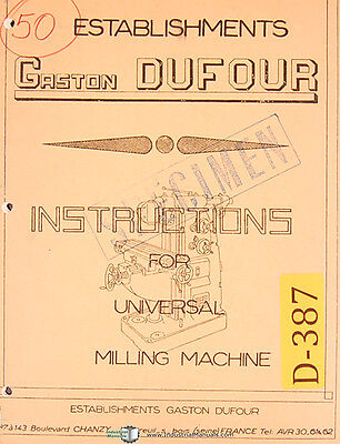 Dufour Gaston No. 50 Universal Milling Machine Instructions Manual