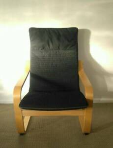 Ikea Poang Armchair with Black cushion