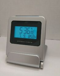Vintage Atomic Travel Mini Alarm Clock Blue LED Backlit Temperature Calendar