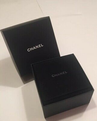 """Authentic Chanel Women's Brooch Jewelry Gift Box + Suede Quad Case Square 4 1/2"""""""