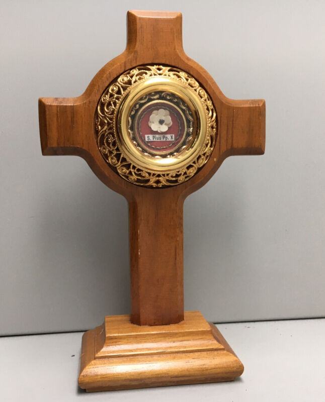 Relic St. Pius X Cross Reliquary Exceptional Thread & Wax Seal Intact