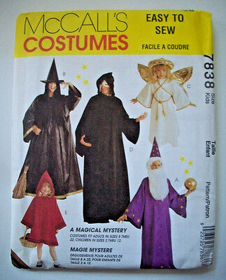 Easy witch angel wizard  child costume pattern 7838 size 2 4 5 6 7 8 10 12  - Easy Angel Costume