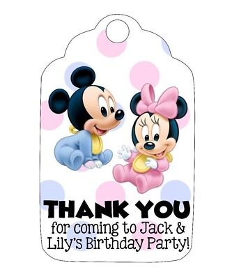 Birthday Party OR Baby Shower Favor Tags!  Mickey & Minnie Mouse, girl boy twins