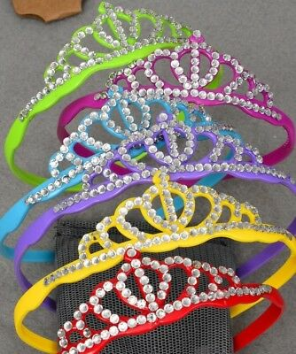 LOT OF 12 PLASTIC PRINCESS CROWNS PARTY FAVOR BLING SPARKLE FANCY DRESS - Plastic Princess Crowns