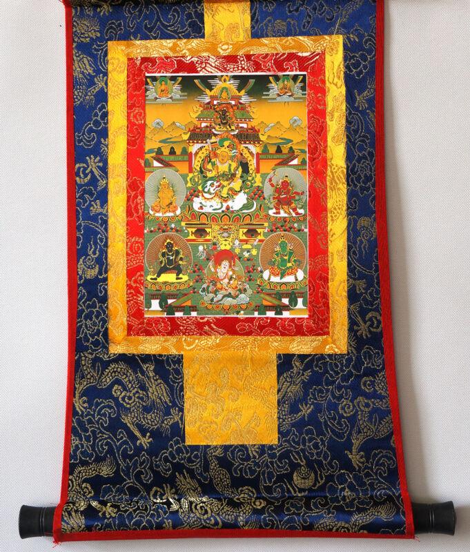 "14"" BROCADED BLESSED GOLDEN SCROLL TIBETAN THANGKA: FIVE JAMBHALA FORTUNE GODS ="