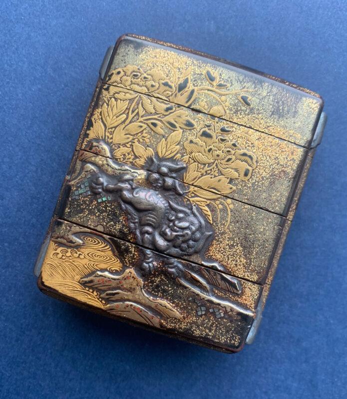 Japanese Meiji Antique Lacquer 4 Case Lion Inro