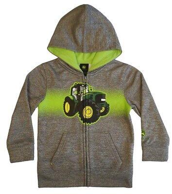NEW John Deere Toddler Gray Zip Poly Fleece Hoodie Tractor Sweatshirt 2T 3T 4T  John Deere Poly Fleece