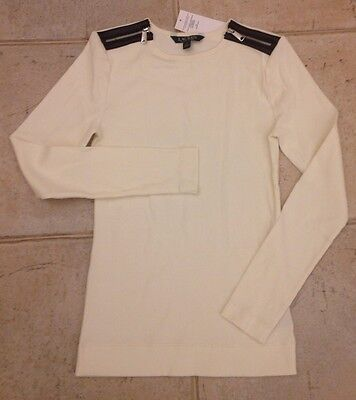 Ralph Lauren Cotton Top White Jersey Size S NEW RRP £75 Genuine