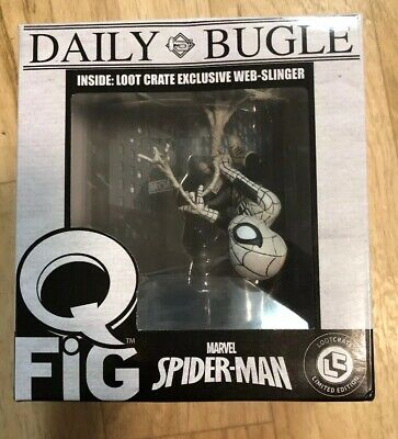 Marvel - Q-Fig - Daily Bugle Spiderman Web Slinger - New - Loot Crate Exclusive