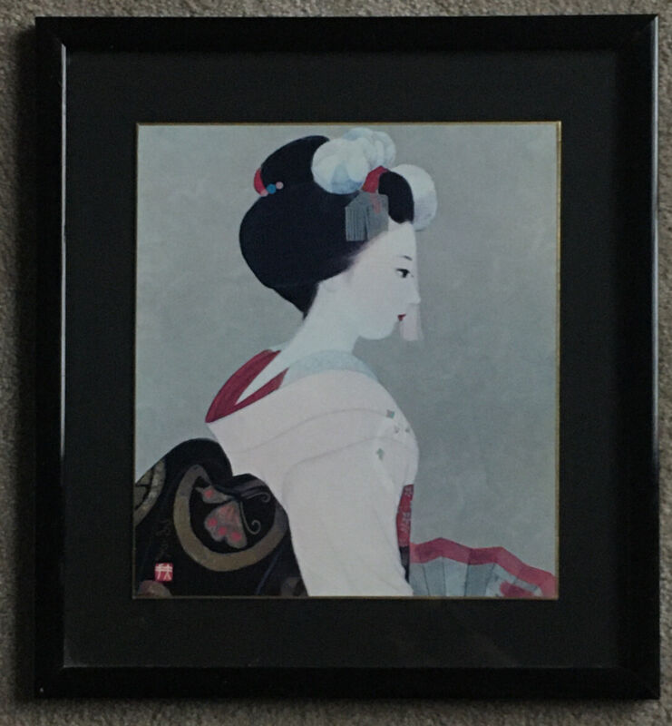 1900s Antique Japanese Signed Painting of Geisha Girl