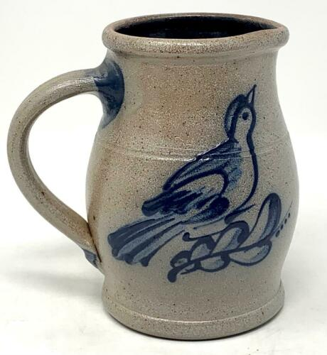 1990 Rowe Pottery Salt Glaze BIRD JUG PITCHER 4 3/4 Inches Tall Charity