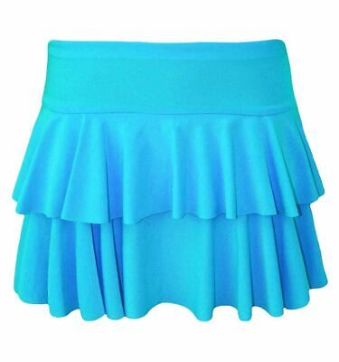 Womens Girls Turquoise Two Layer Pleated Ra Ra Tutu Skirt for Dance Hen Party