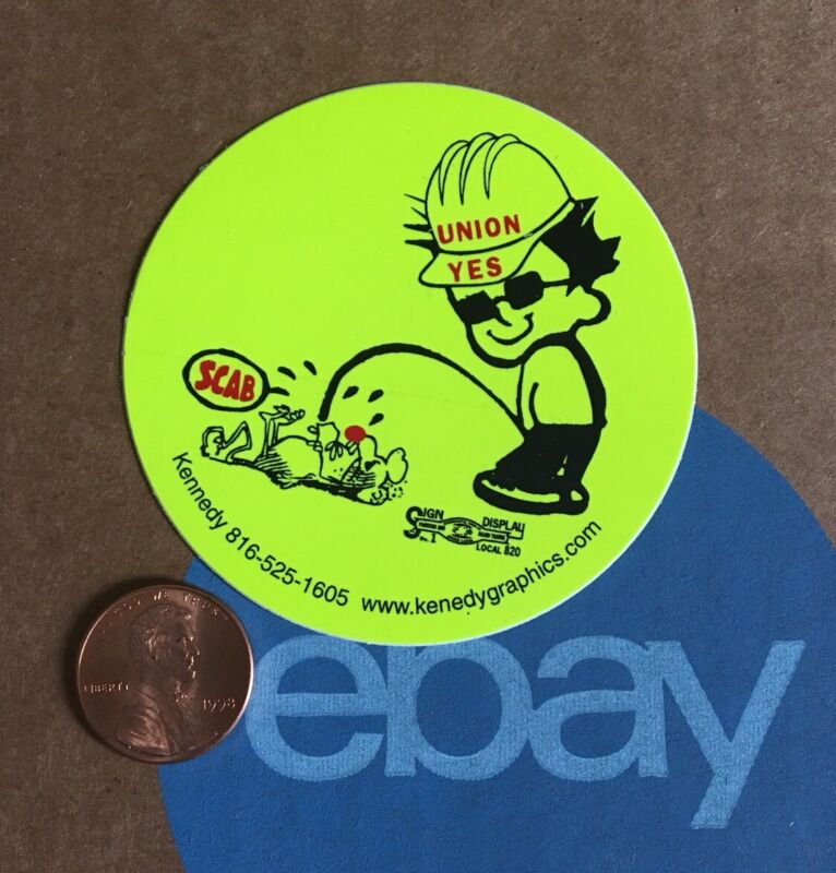Union Yes Bad Boy Peeing Piss on Rat Scab Hard Hat Sticker Decal Labor Funny