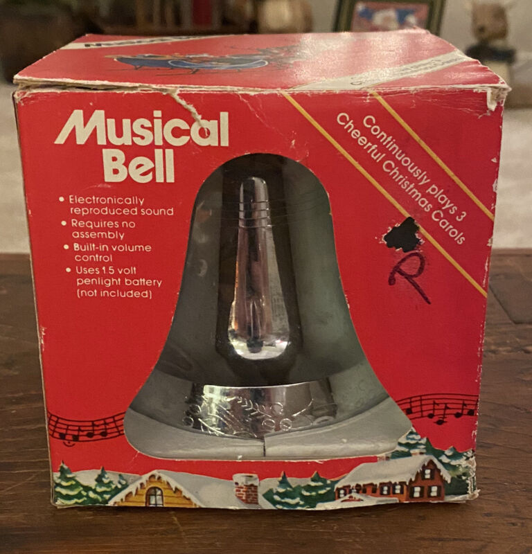 Vintage 1980 Musical Silver Christmas Bell Plays 3 Carols Taiwan A.T.I.