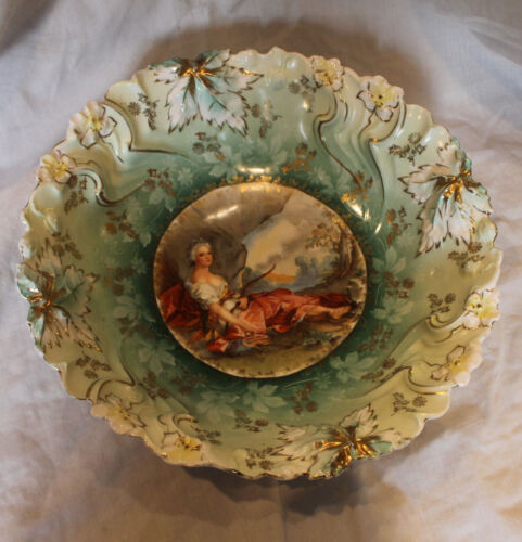 Antique RS Prussia Bowl Diana the Huntress