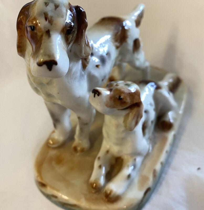 """Vintage Japan 6"""" Porcelain 2 English Setter Dogs Figurine"""