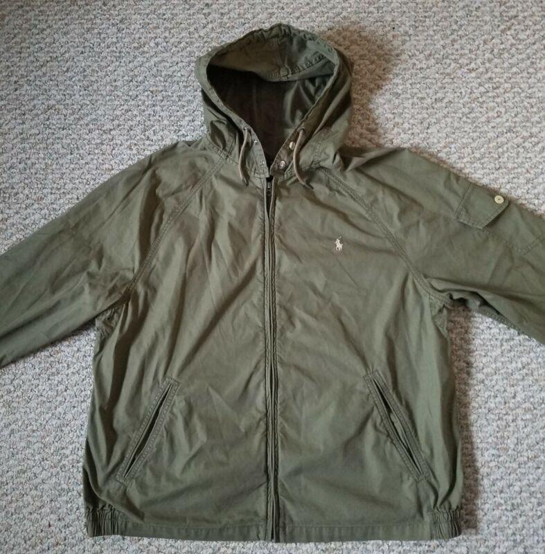 Polo Ralph Lauren Mens NEW Cotton Blend Hooded Olive Windbreaker Jacket Size XXL