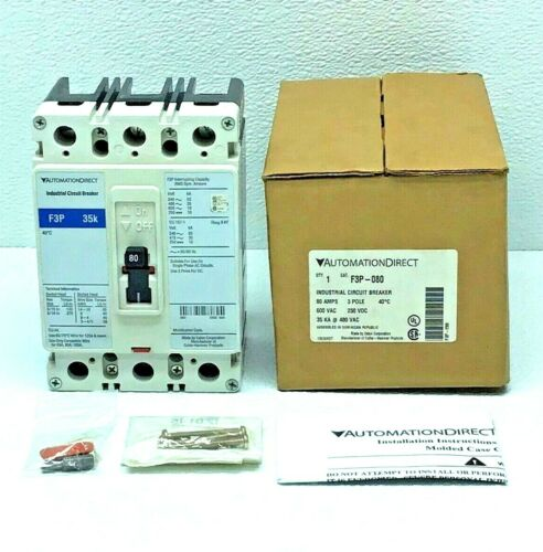 NEW AUTOMATION DIRECT F3P-080 INDUSTRIAL CIRCUIT BREAKER 35k 3-POLE 600-VAC