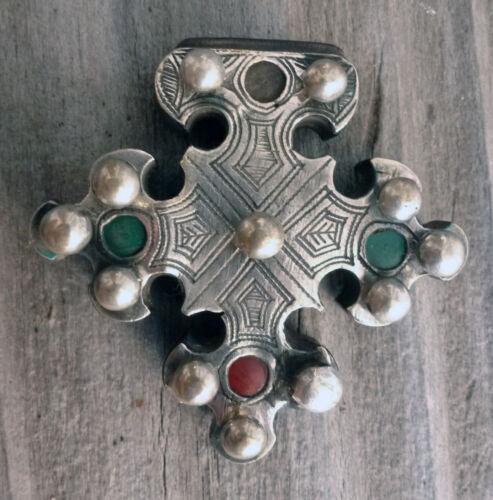 (B) Antique Tuareg Cross of Trarza Silver Wood Mauritania #1