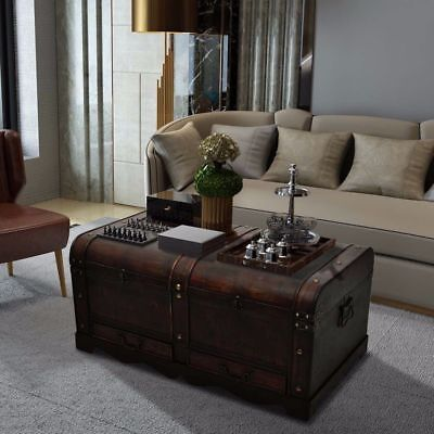 Large Wooden Coffee Table Treasury Pirate Chest Medieval Storage Trunk Brown ()