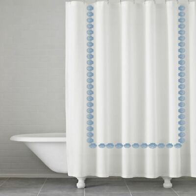 Kassatex Trinidad Embroidered Shells Fabric Shower Curtain in White/Blue