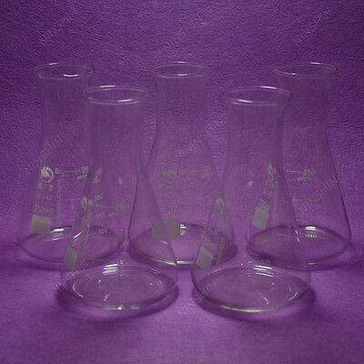 250ml Conical Flaskerlenmeyer Flaskwith Wide Mouth5pcslotlab Glassware