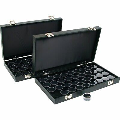 72 Gem Jars Black Display Tray Gemstone Travel Case