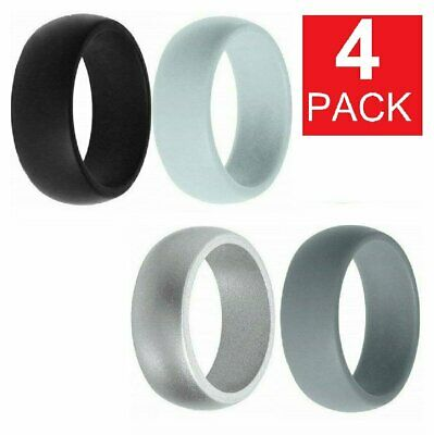 4 Pack Silicone Wedding Engagement Ring Men Women Rubber Band Gym Sports SHIP US Bands without Stones