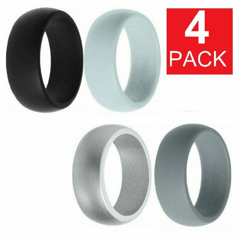 4 Pack Silicone Wedding Engagement Ring Men Women Rubber Band Gym Sports SHIP US