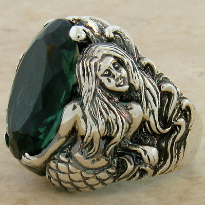 MERMAID RING SIM EMERALD 925 STERLING SILVER RING SIZE 10,                  #829