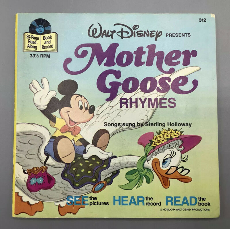 MOTHER GOOSE RHYMES Disney See Hear Read Book & Record #312 1979