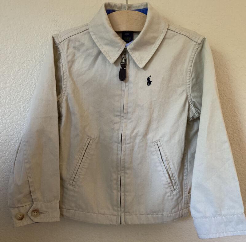 NWOT POLO Ralph Lauren Size 4/4T Jacket Coat Khaki Tan Full Zip Boys Lightweight