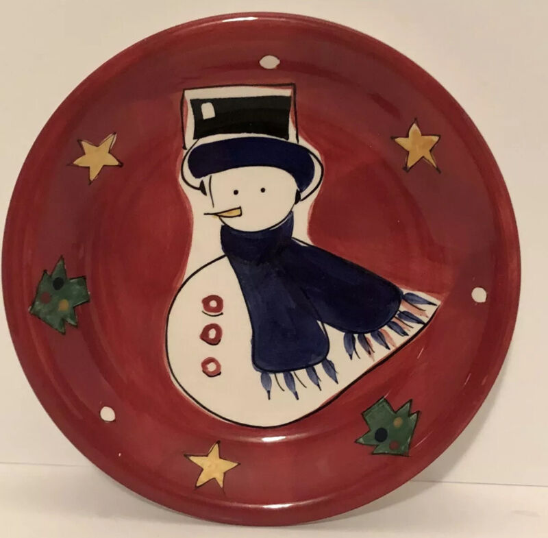"""Christmas Plate Gibson 8.5"""" Snowman Cookie Plate for Santa"""