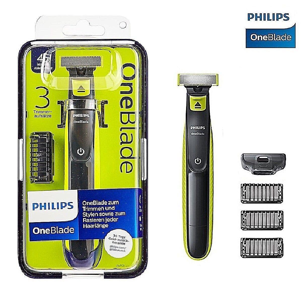 Philips One Blade QP2520/20 Rasierer Bartschneider abwaschbar 3 Aufsätze Neu Ovp