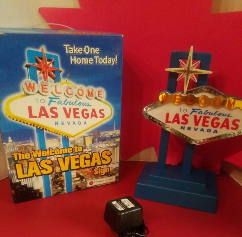 Welcome To Fabulous Las Vegas Lighted Flashing Sign ☆NEW IN BOX☆ 2003