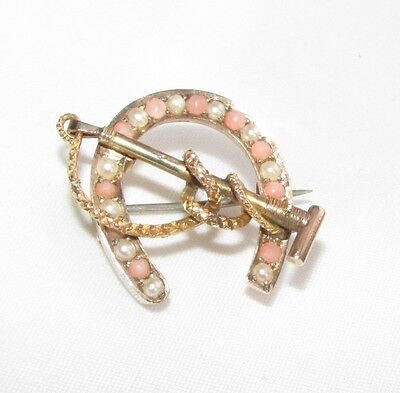 Old antique Victorian 9ct gold seed pearl & coral horseshoe equestrian brooch