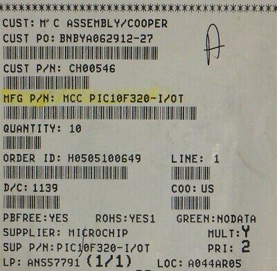 Pic10f320-iot Microchip Ic Mcu 8bit 448b Flash Sot236 Rohs 12 Pieces