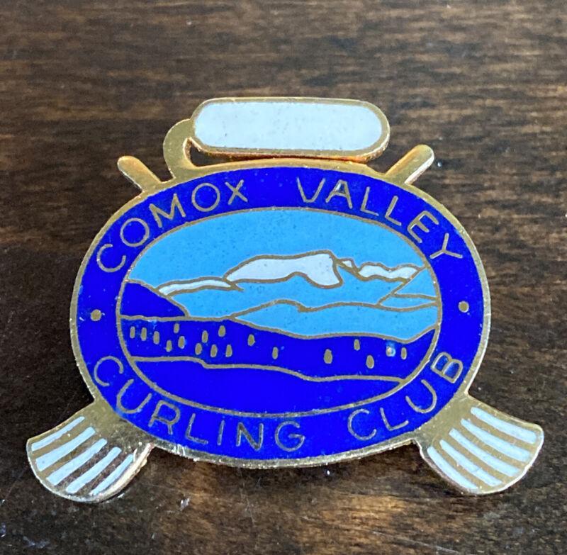 Vintage Comox Valley Curling Club Pin Vancouver Island British Columbia Canada