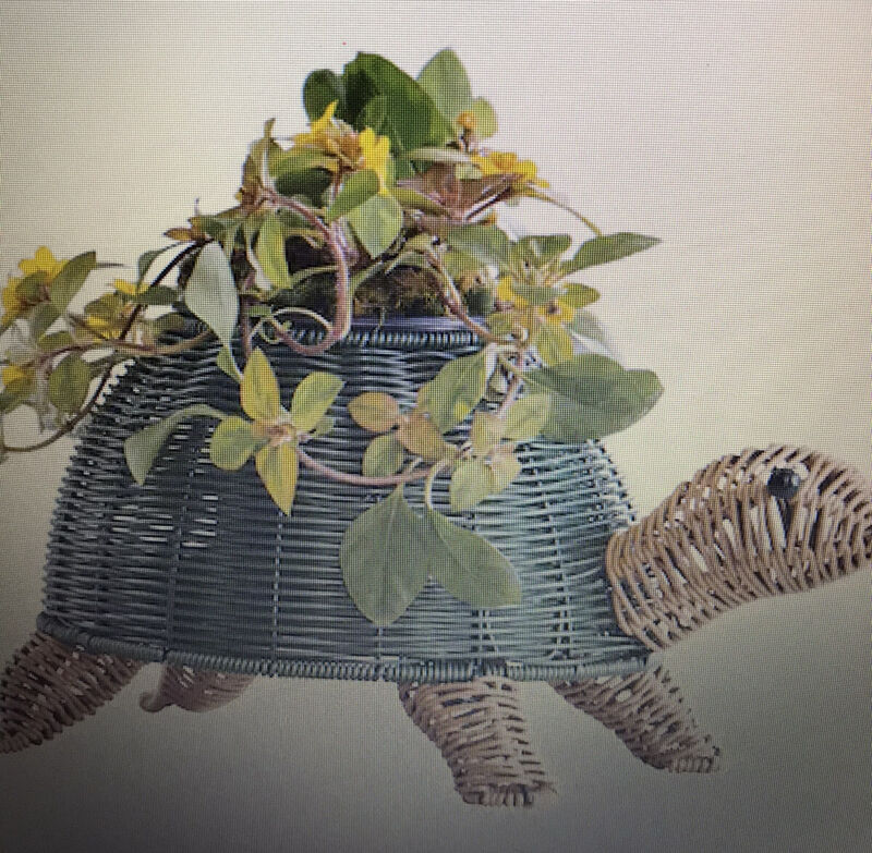 Wicker Look Turtle Planter Indoor/Outdoor  w/plastic flower pot NWT